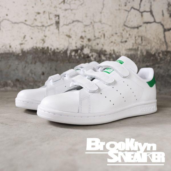 adidas Originals Stan Smith CF 魔鬼氈  全白 白綠 黏帶 男  (布魯克林)  S75187