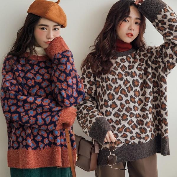 現貨-MIUSTAR 藝術風配色豹紋混絨針織毛衣(共2色)【NH3613】