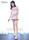 Victoria  NEW YORK小印花落肩短袖T-女-白色