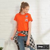 【JEEP】女裝 經典品牌圖騰短袖TEE-橘紅