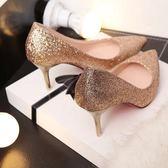 時尚亮片單鞋5-7cm中跟性感尖頭高跟鞋女低跟百搭新娘婚鞋三角衣櫥