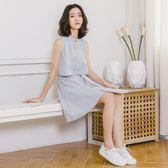 中大尺碼 無袖洋裝a字無袖裙子假兩件條紋女2018夏裝新款中長款襯衫裙  ys1784『時尚玩家』