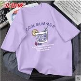 女童短袖t恤夏 純棉兒童上衣夏季女大童寬松夏裝12歲女孩紫色童裝 童趣屋 免運