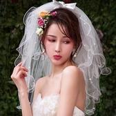 韓式新娘頭紗蓬蓬多層可愛頭紗簡約森系復古旅拍頭紗短款婚紗配飾 至簡元素