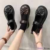 娃娃鞋 軟妹可愛小皮鞋日系圓頭女學生百搭娃娃鞋平底學院風鞋子制服鞋