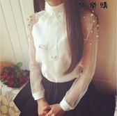 歐根紗蝴蝶結白色襯衫釘珠雪紡衫女氣質