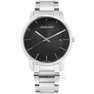CK / K2G2G14C / 都會時尚 條紋質感 礦石強化玻璃 日期 不鏽鋼手錶 黑色 43mm