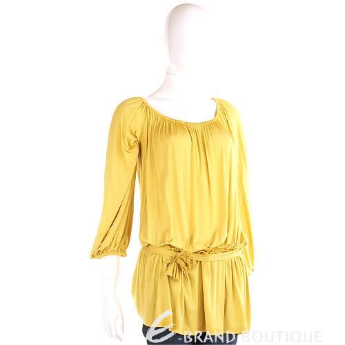 PAOLA FRANI 黃色皺褶七分袖上衣(附腰帶) 1010479-66