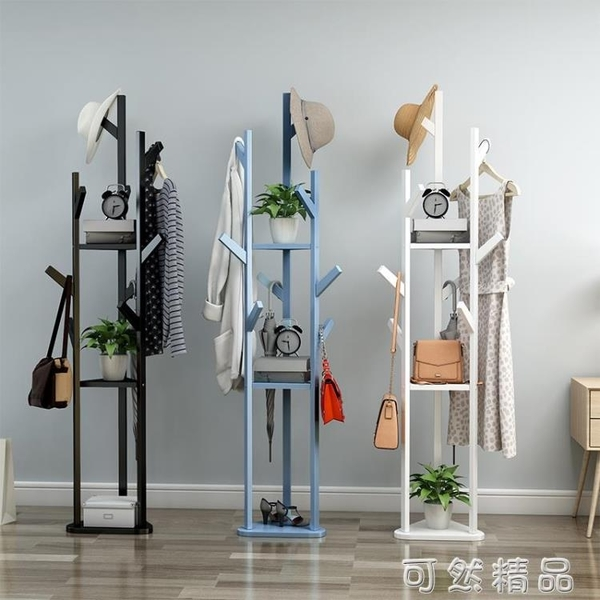 簡易衣帽架實木置物架多功能現代小收納架簡約家用掛衣架落地臥室 可然精品