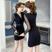 秋裝2020新款打底裙正韓修身顯瘦網紗拼接長袖性感V領包臀洋裝