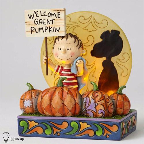 《Enesco精品雕塑》SNOOPY 50週年萬聖節亮燈奈勒斯南瓜塑像-Welcome Great Pumpkin_EN89277