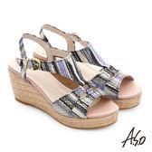 A.S.O 嬉皮假期 真皮獨特紋路楔型涼鞋 黑