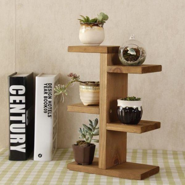 【中秋好康下殺】簡易現代實木多肉小花架迷你桌面置物架木製辦公室桌上書桌