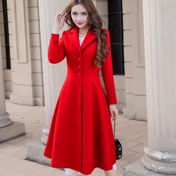 美之札[98658-QF]兩穿式~小V西裝領長款毛呢大衣外套洋裝