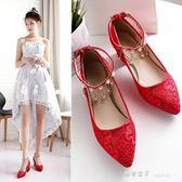 妝新新款結婚鞋紅色婚禮品女新娘鞋子粗跟敬酒鞋韓版方跟婚鞋 秘密盒子