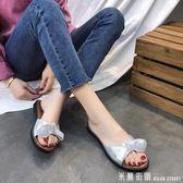 外穿拖鞋女 2018夏季新款韓版拖鞋蝴蝶結一字拖平底防滑學生外穿休閒沙灘涼鞋 米蘭街頭