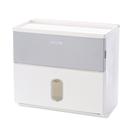 【三房兩廳】衛生紙大容量雙層防水面紙盒(免釘無痕衛生紙掛架) -灰色