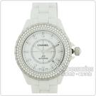CHANEL  J12陶瓷寶石鑽錶(白)