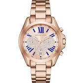 Michael Kors MK 華麗羅馬晶鑽計時錶-玫瑰金/37mm MK6321