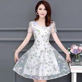 雪紡碎花連身裙女人夏天裙子媽媽裝