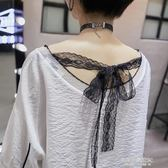 夏新款白色韓版v領t恤女半袖寬鬆棉麻衫百搭漏鎖骨小心機上衣  凱斯盾數位3C