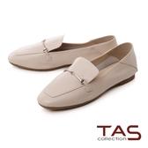 TAS 一字金屬釦羊皮樂福鞋–簡約米