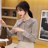 超仙的上衣秋娃娃領雪紡襯衫女設計感小眾韓版長袖襯衣女2019新款