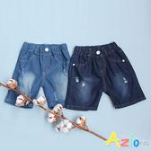 童裝 短褲 後字母抓破造型/刷色抓破後口袋鬆緊短褲(共2款)