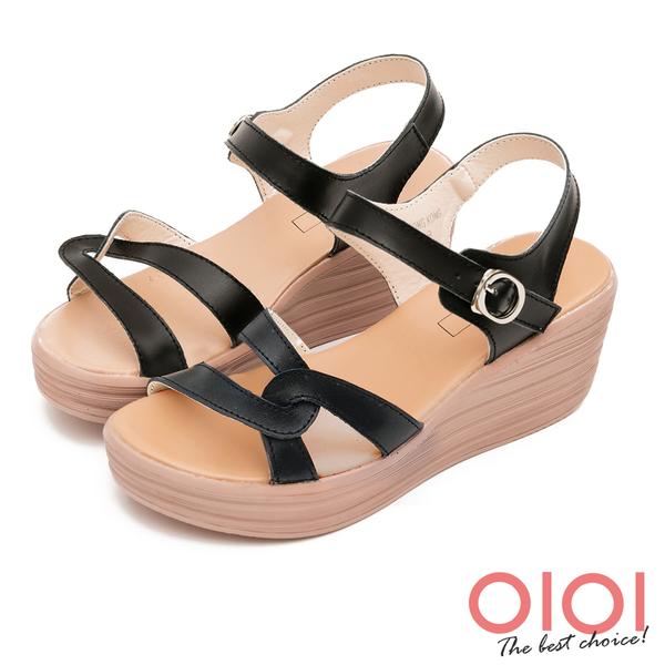 楔型涼鞋 簡約獨特線條真皮楔型涼鞋(黑) *0101shoes 【18-760bk】【現貨】