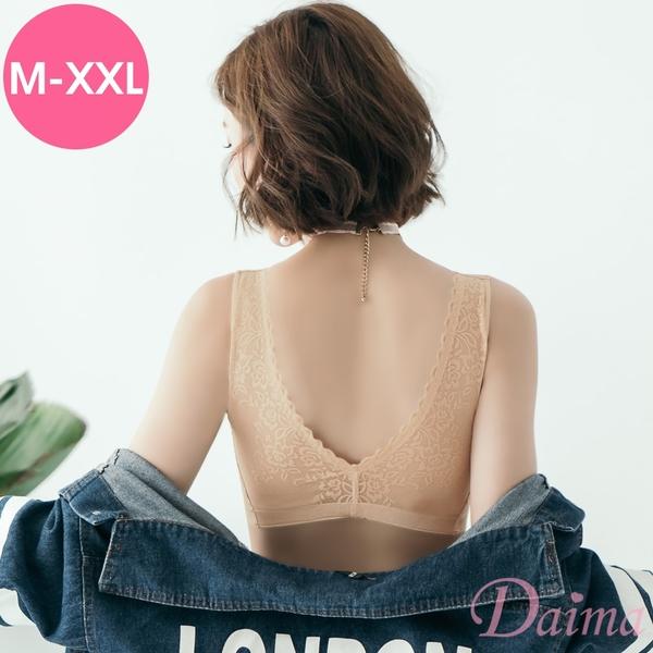 黛瑪Daima 輕盈舒適感~3D立體提托美背性感深V蕾絲內衣_膚9117