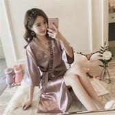 睡衣女 性感睡衣女夏季短袖日系復古系帶睡袍薄款冰絲綢中長款浴袍家居服 城市科技