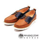 WALKING ZONE 英倫經典拚色雷根鞋帆船鞋 男鞋-棕