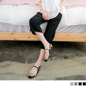 OB嚴選《BA2541-》純色涼感直條壓紋鬆緊綁帶七分寬褲