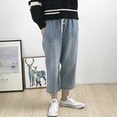 牛仔褲-水洗做舊舒適鬆緊腰寬管女長褲2色73tq29【巴黎精品】