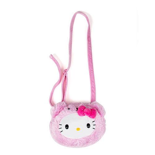 【震撼精品百貨】Hello Kitty 凱蒂貓~Sanrio HELLO KITTY童用大臉造型絨毛斜背包(裝扮熊熊粉)#12778