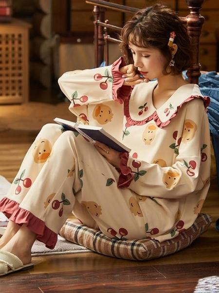 睡衣女士春秋款純棉長袖秋冬季全棉年新款潮可外穿家居服套裝【618優惠】