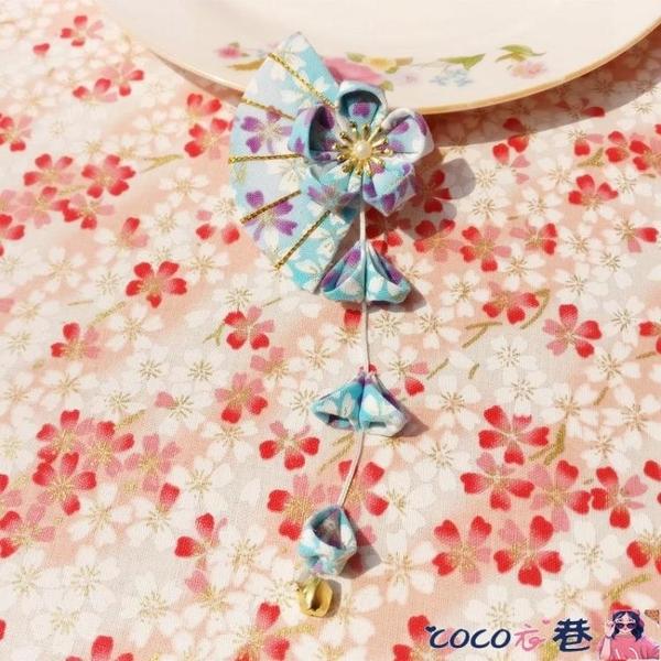 古風邊夾 日系古風和風髮飾頭飾漢服演出和服櫻花流蘇髮夾邊夾日式對夾髮卡 coco
