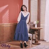 洋裝 RCha。蕾絲層次綁帶假兩件七分袖洋裝-Ruby s 露比午茶