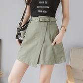 褲裙 2021夏季新款港風a字水洗棉有口袋的工裝牛仔半身裙女高腰短裙褲 韓國時尚週