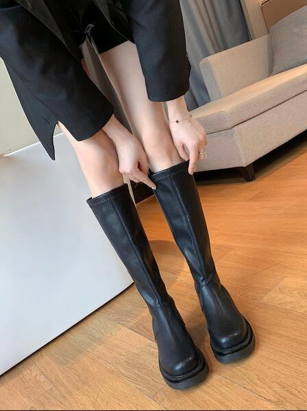長筒靴 白色高筒靴女2020新款秋冬彈力瘦瘦馬丁靴騎士中筒不過膝長靴