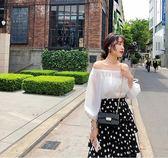 黑五好物節 2018夏裝新款遮肚子雪紡衫超仙甜美燈籠袖白色一字肩雪紡上衣女夏夢想巴士