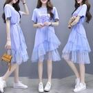 網紗洋裝 很仙的法式 桔梗連身裙夏款流行網紗裙子仙女超仙森系-Ballet朵朵