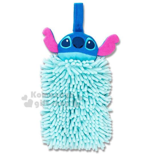 〔小禮堂〕迪士尼 史迪奇 造型擦手巾《水藍.大臉》超細纖維.吸水速乾 4548622-74402