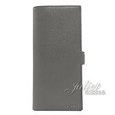 茱麗葉精品【全新現貨】PRADA 2MV015 浮雕LOGO雙色對開扣式長夾.灰/黑