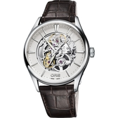 ORIS 豪利時 Artelier Skeleton 雙鏤空機械腕錶-銀x咖啡/40mm 0173477214051-0752165FC