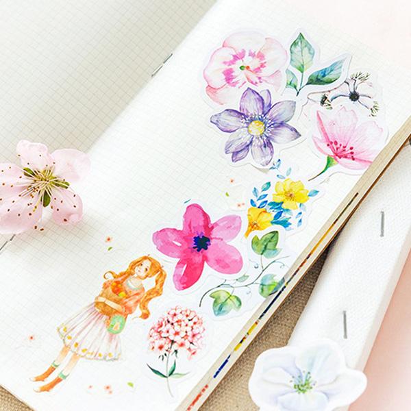 【BlueCat】小清新日光花語手帳拼貼裝飾貼紙 (45入)