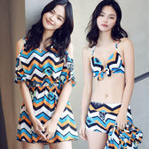 K.J時尚女郎依莎韋爾新款泳衣 時尚性感鋼托款比基尼平角三件套泳衣 739