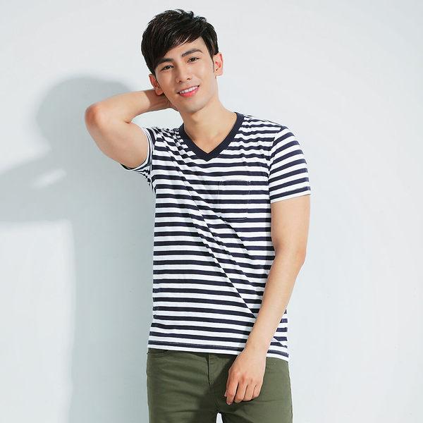 【101原創】V領條紋短袖口袋T恤上衣(男女適穿)-共5色