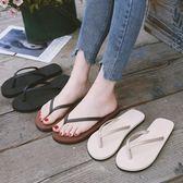 人字拖女夏時尚拖鞋男防滑情侶平底學生簡約外穿海邊沙灘潮涼拖鞋