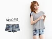 牛仔短褲 NEWLOVER 【111-5612】韓版時尚字母繡翹臀丹寧超短褲M-XL